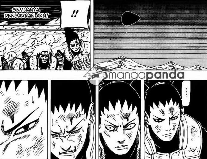 Serangan Juubi mengarah menuju tempat tim shikaku, dan tim shikaku melaksanakan tugas terakhir mereka.