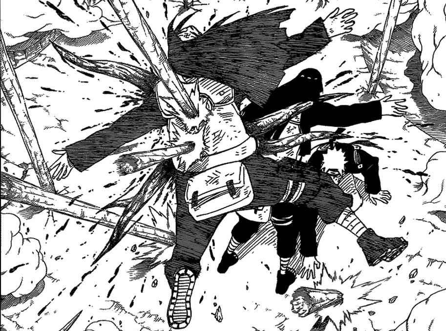 Neji menjadi tameng, untuk melindungi Hinata dan Naruto. Nyawa jadi penggantinya.