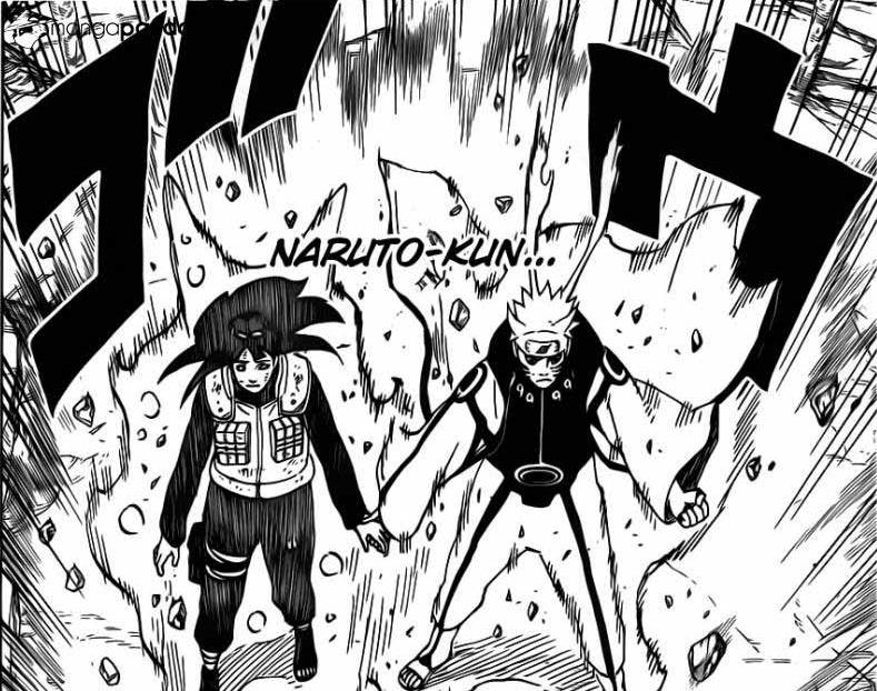Hinata yang diberi cakra Kyuubi oleh Naruto