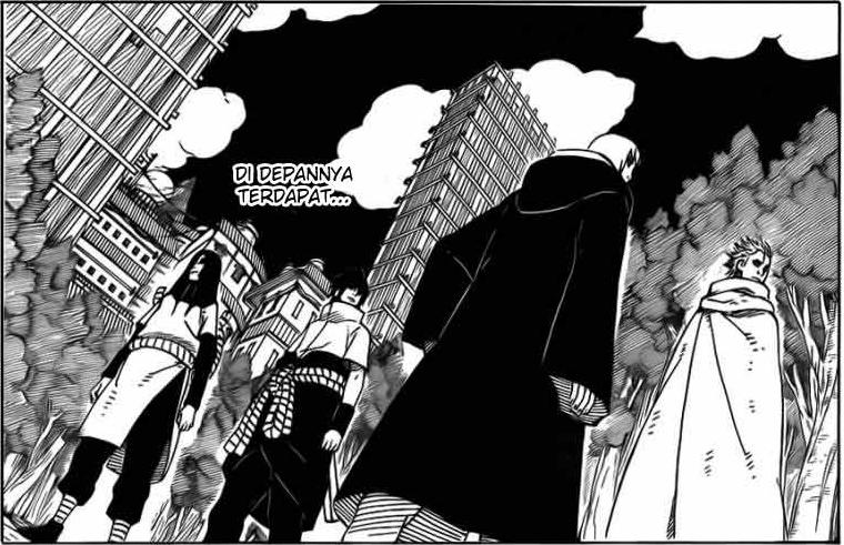 Tim Sasuke dengan Orochimaru berada di desa Konoha. Plot 2