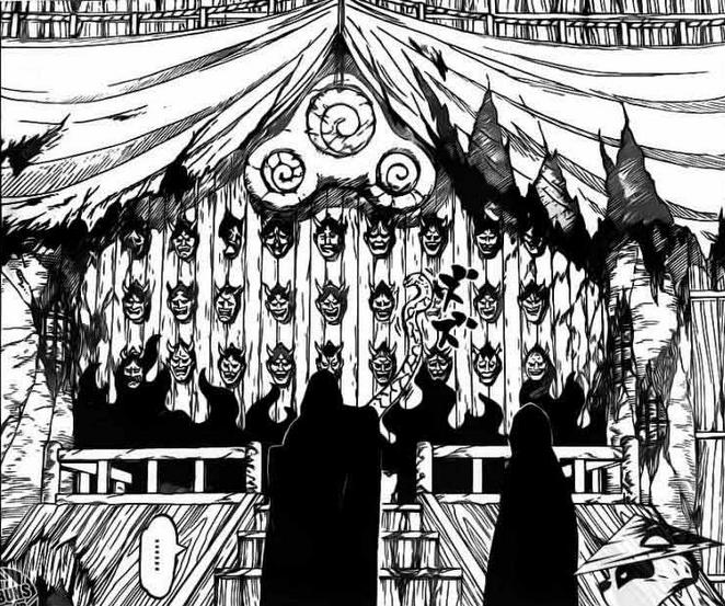 Orochimaru mengambil topeng Shinigami.