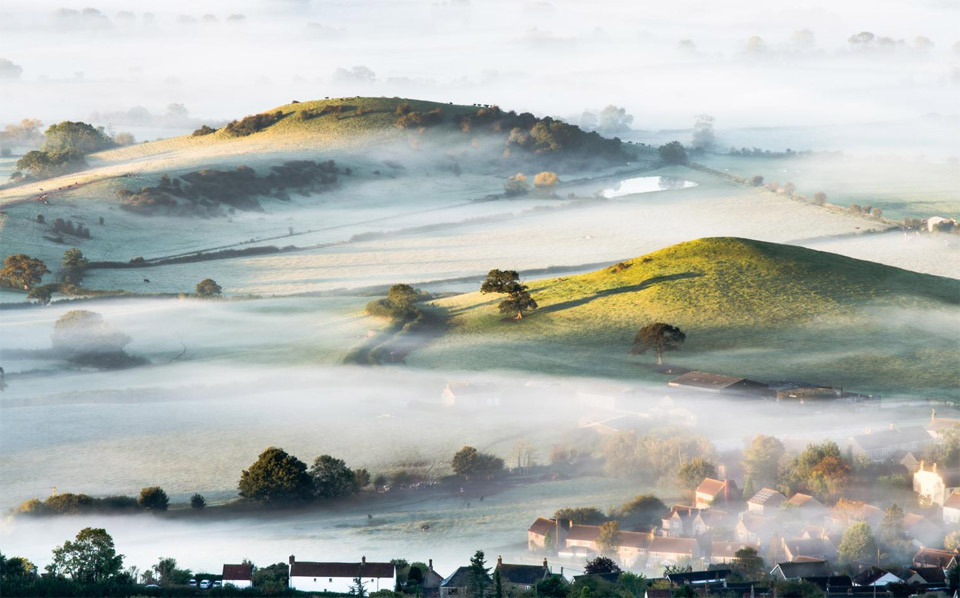 Mist over countryside in Southwest England.