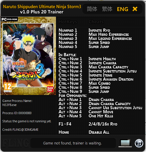 Tampilan Naruto Shippuden_Ultimate Ninja Storm 3 v1.0 Plus 20 Trainer